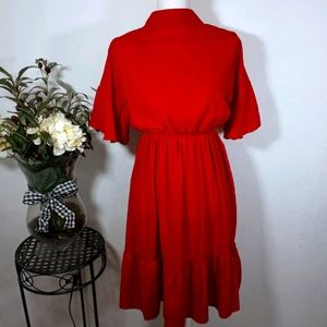 RED DRESS WITH HIGH NECK LINE SZ.S/M EUC